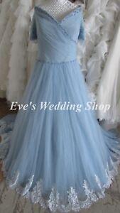 Anna Lizh blue off shoulder wedding dress UK size 18 - check measurements