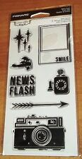 CLEAR ACRYLIC FISKARS STAMPS RETRO FLASH ~ CAMERA, TELEPHONE  wks CTMH blk