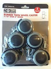 "Wheel Casters Twin Rubber Swivel 2"" Wheel 66lbs Per Caster 5-pack Norge 93"
