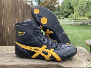 asics onitsuka tiger leather wrestling shoes black gold rare size 9 mens