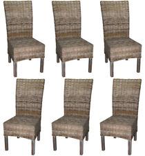 KMH® 6er Set Esszimmerstuhl Stuhl Korbstuhl Rattanstuhl Geflecht Küchenstuhl