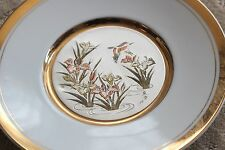 "Chokin 8"" Plate Bird Iris Water White Gold Made in Japan"
