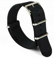 12mm 14mm 16mm 18mm 20mm 22mm Black Military G10 Canvas Nylon Watch Band Strap