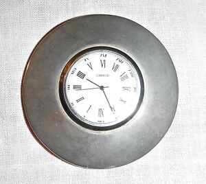 *CLOCK PAPERWEIGHT OFFICE DESK SILVER METAL CHROME? BATTERY SMART BOYS TOY SPINS