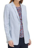 Tommy Hilfiger Womens Blazer Blue 6 Striped Notched-Lapel One-Button $139- 248