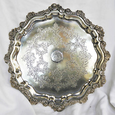 Antique Walker and Hall Silver Plated Footed Tray - c 1890 - 1910