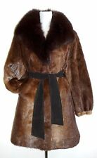 Rare FUR COAT Nutria ? supple REAL FUR jacket mantle BROWN Fox fur collar SOFT L