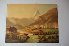 Reproduction ancienne d'après une peinture représentant Zermatt vers 1900.