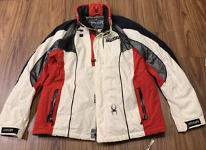 SPYDER Mens X-Static Insulation Parka Coat Jacket White Red XLT 10,000