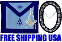 MASONIC COLLAR JUNIOR DEACON APRON with SILVER Collar + JEWEL Package 4