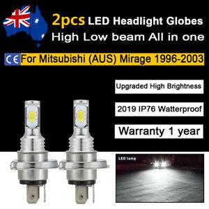 For Mitsubishi Mirage 1996-2003 Headlight Globes High Low Beam white LED Bulb 2x