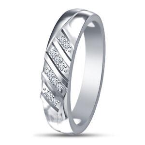 14K White Gold Over Round Diamond Men's Engagement Ring Wedding Pinky Band