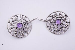 Or Paz (B) Sterling Silver 925 Floral Amethyst Earrings MADE IN ISRAEL 12 grams