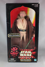 """STAR WARS EPISODE 1 QUI-GON JINN 12"""" ACTION POSEABLE FIGURE 57129 - NEW/SEALED"""