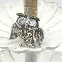 OWL sterling marcasite pin - vintage 925 silver stone bird big eyes brooch 6.4g