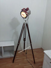 Spotlight With Natural Wood Tripod Stand Leather Lobby Searchlight With Tripod