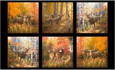 6 BEAUTIFUL WILDLIFE PANELS WHITE TALE DEER FABRIC MATERIAL 4 QUILTS & CRAFTS #1
