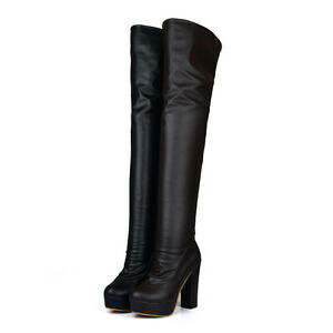 Womens Shoes Synthetic Leather Platform High Heels Over Knee Boots UK Size b842