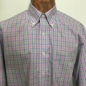 Brooks Brothers M Multi-Color Plaid Button-Down Cotton Shirt Non-Iron