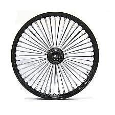 """BLACK & CHROME 48 King Spoke 21"""" x 3.5"""" Single Disc Front Wheel for Harley"""