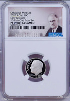 2020 S Proof 10C Clad Roosevelt Dime 10-coin-set Version NGC PF69 ULTRA CAMEO ER