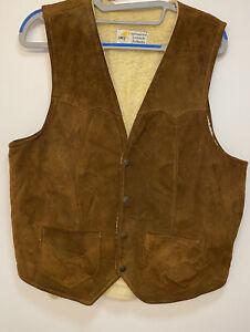 Vintage Simco Gilet Men's Large Leather Brown Soft Feel