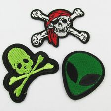 3pce Set Iron on / Sew On Embroidery Cloth Alien Crossbones Patches