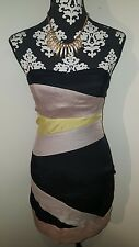 General Pants CO strapless multi-panel iridescent minidress Sz 6, zip closure.
