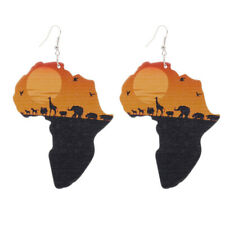 1 Pair Good Quality Wood Earrings African Woman Wooden Pendant E303