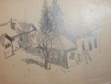 Vintage pencil drawing cityscape landscape