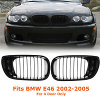 2x Front Kidney Grille Grill Gloss Black For BMW E46 3 Series 4 Doors 2002-2005