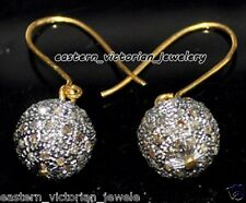 Vintage Antique 3.25Cts Natural Pave Rose cut Diamond Silver Lovely Bead Earring