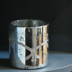 Mini Antique Silver Etched Flower Hurricane, Glass Pot Tea Light Candle Holder