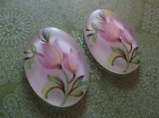 Vintage Cameos - Pink Tulip Flowers Oval 25X18mm Cabochons Made in Germany Qty 2