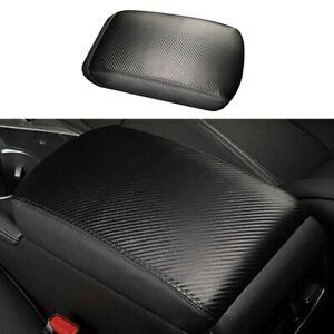 1 * Center Armrest Cover Black Carbon Fiber Leather For Infiniti Q50 14-19