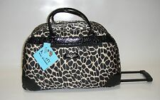 NEW KATHY VAN ZEELAND BLACK TAN ANIMAL WHEELED DUFFLE LUGGAGE CITY BAG $120