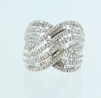 Magnificent Twisted Woven Sterling Silver 1.00 Cttw Genuine Diamond Ring SJL (8)