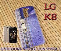 Cover custodia in gomma di silicone per Smartphone LG K8 fantasia CERNIERA JEANS