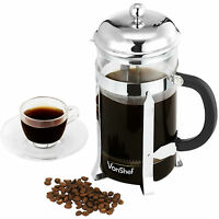VonShef 8 Glass French Press Stainless Steel Cafetiere Filter Coffee Maker