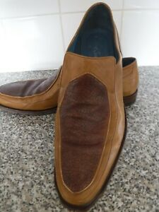 MENS OLIVER SWEENEY SLIP ON SHOES TAN LEATHER, LEATHER BOTTOMS SIZE 11 UK