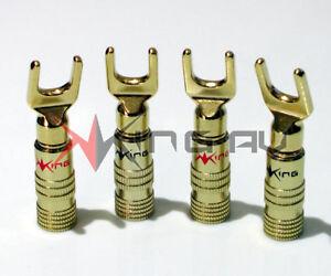 4 x KING AV GOLD SERIES AMPLIFIER SPADE TERMINALS, BANANA PLUGS, BINDING POSTS