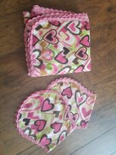Receiving Blanket multicolored hearts with burps Hand Crochet Edge flannel