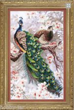 EMBROIDERY KIT EMBELLISHED STITCH KIT CRYSTAL ART 2 PEACOCKS IN MAGNOLIA BT-519