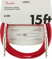 Fender Original Series Electric Guitar/Bass Instrument Cable, 15' ft, Fiesta Red