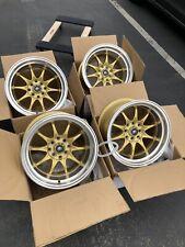 Used Set 15x8 MST MT11 4x100/4x114.3 +0 Gold Rims Fits Datsun 240z 260z AE86