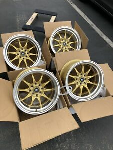 Used Set 15x8 MST MT11 4x100/4x114.3 +0 Gold Rims Fits Datsun 240z 260z AE86