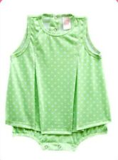Carter's Green Polka Dot Play Suit Dress-Romper Infant/Baby Girl Clothes, 6 mos