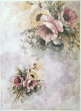 Rice Paper for Decoupage Decopatch Scrapbook Craft Sheet Vintage Painted Flowers