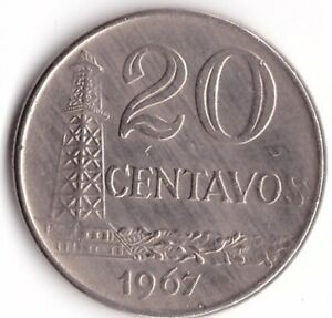 20 Centavos 1967 Brazil Coin KM#579.1 Oil Well
