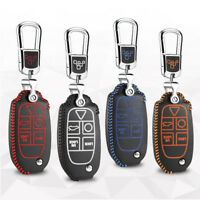 For Volvo XC90 2004-2013 Car Leather Smart Key Remote Entry Fob Case Cover Chain